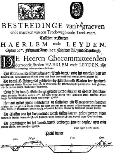 Aanbesteding voor het graven van de trekvaart Leiden-Haarlem, 27 februari 1657