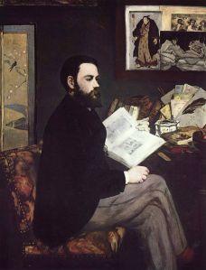 Portret van Emile Zola door Edouard Manet, 1867 – 1868. Musee d'Orsay, Parijs.  Wikimedia commons