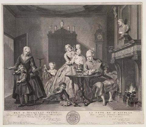 Burgerlijke Sinterklaasviering uit 1761, naar Cornelis Troost. (GA Amsterdam)