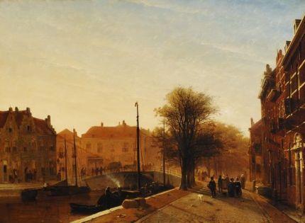 """Jan Weissenbruch 1847 """"De Dunne Bierkade te Den Haag""""."""