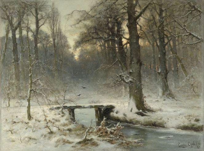 Een januari-avond in het Haagse bos, Louis Apol, 1875